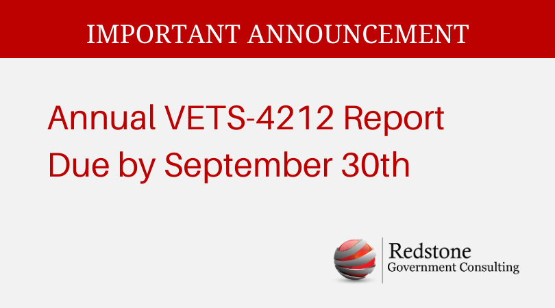 Annual VETS-4212 Report Due by September 30th - Redstone gci
