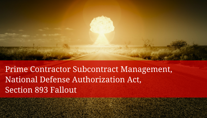 Prime Contractor Subcontract Management, National Defense Authorization Act, Section 893 Fallout - Redstone Government Consulting